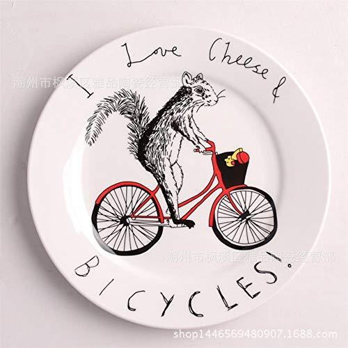 QVC Cartoon Tier Stil Ceramica Platte Englisch Brief Originalität Frühstück Disc Kuchen EIN Snack Disc Brot Tablett, Fahrrad Eichhörnchen