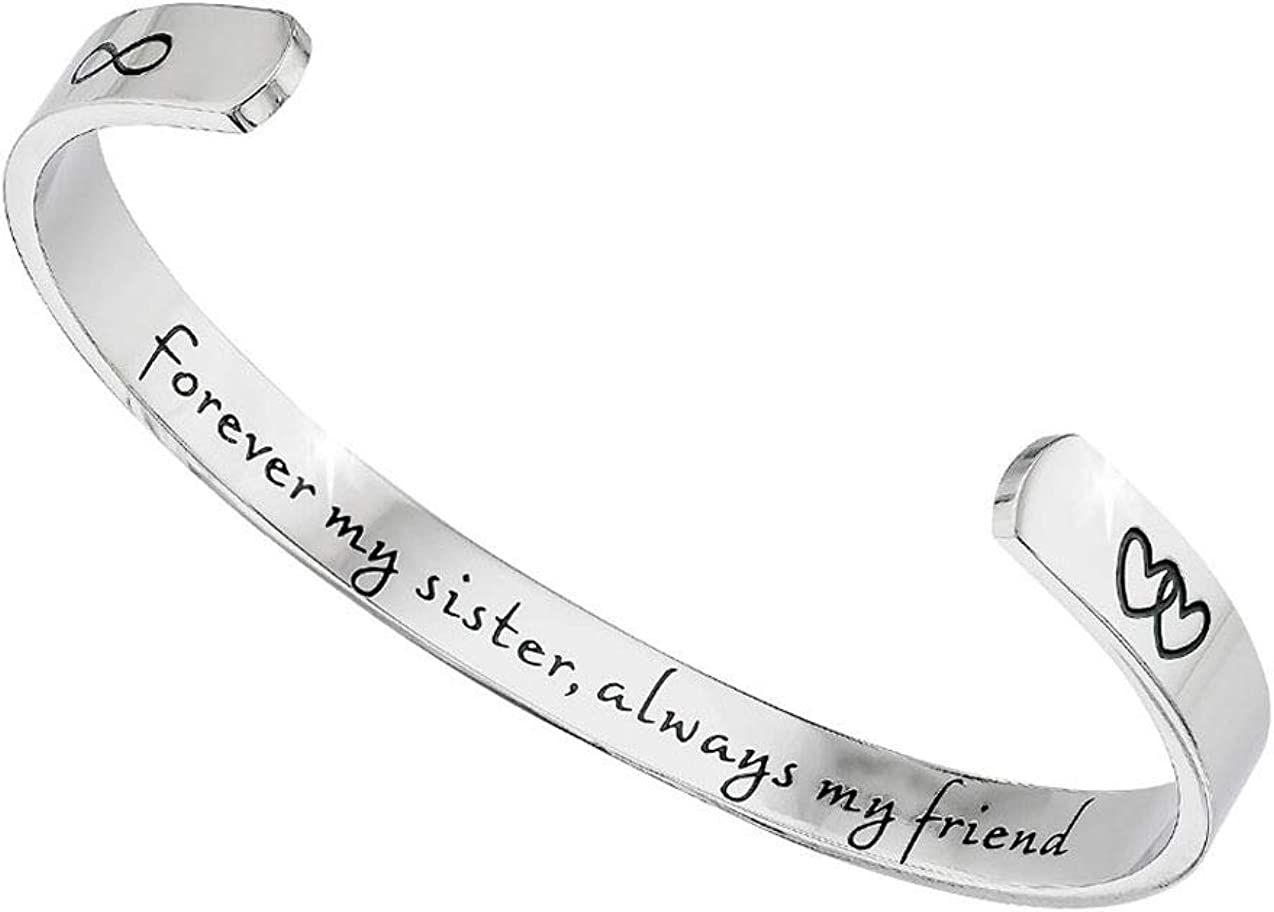 Tstars Sister Bangle Bracelet Forever My Sister Always My Friend Sister Gifts from Sister Jewelry