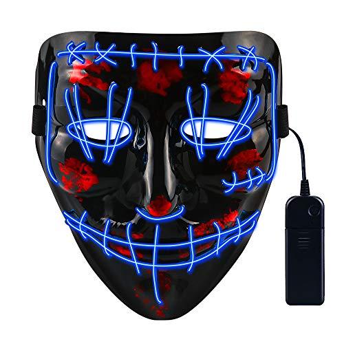 CENOVE LED Maschera per Spurgo di Halloween con 4 modalità Flash Decorazioni per Feste in Costume Cosplay per Adolescenti Uomini e Donne (Blu)