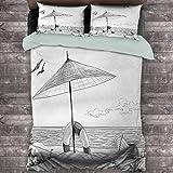 Toopeek Beach Paquete de 3 (1 funda de edredón y 2 fundas de almohada) estilo Doodle Sketch patrón monocromo ilustración océano y barco lápiz dibujo poliéster (completo) negro blanco