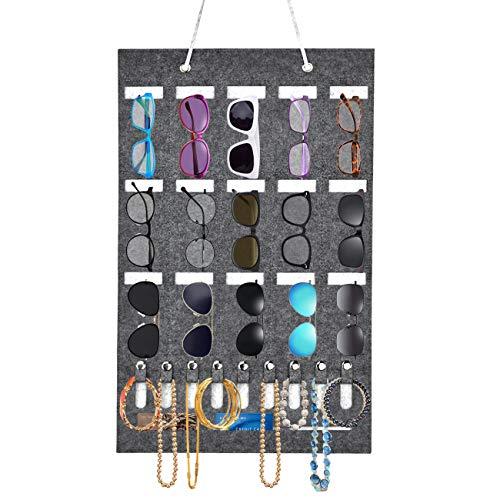 15 Ranuras para Colgar Gafas, Bolsa de almacenamiento de gafas de sol para colgar en la pared con 9 Ranuras para Ilaves, Bolsa de Fieltro para Gafas, Llaves, Auriculares