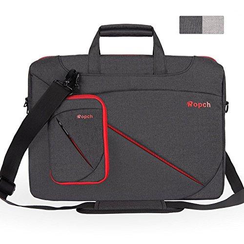 Ropch Laptop Bag 15.6 Inch, Unisex Laptop Sleeve Waterproof Nylon Laptop Shoulder Messenger Bag Briefcase for 15 - 15.6 Inch Acer / Asus / Dell / HP / Lenovo - Black