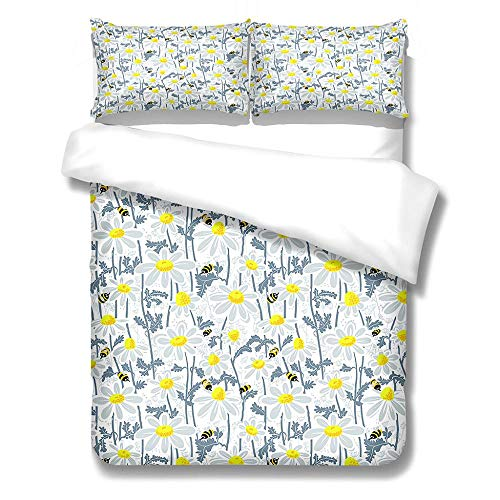 SKYZAHX Duvet cover for teen boys and girls microfiber duvet Chrysanthemum Soft, skin-friendly and comfortable 3D printed duvet cover with duvet cover 86 X 102 inch 2 pillowcases 20 x 28inch