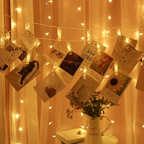 YEOLEH Photo Clip String Lights, Fairy 20 Clips 40 LEDs Lights Window Curtain Wall Dorm Lighting for Hanging Artwork Photos Memos Paintings, Bedroom Dorm Home Décor, Battery Operated