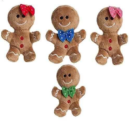 Packung mit 4-10 cm Plüsch Lebkuchen Man & Lady Soft Toys mit verschiedenen Schleifen - Christmas Soft Toys - Weihnachtsdekorationen