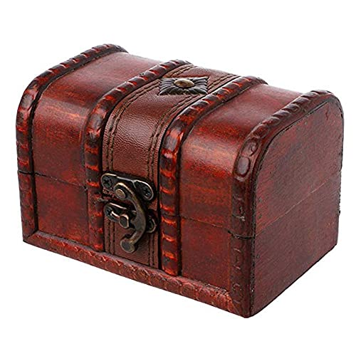 WYFDC pequeña joyería Almacenamiento Tesoro Caja de Madera rústico Caja Vintage Hecho a Mano Pecho