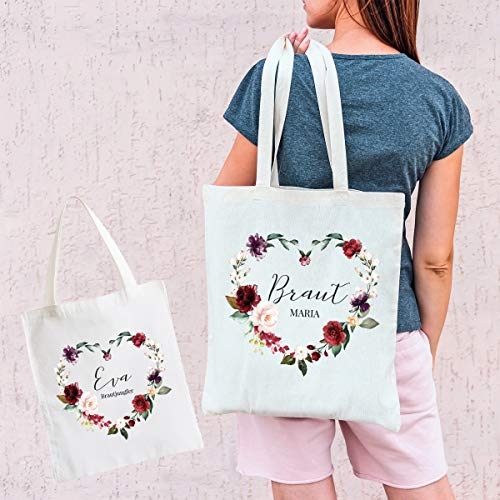 Tasche für den Junggesellenabschied rot/gold Braut (+Name) – oder Wunschtext