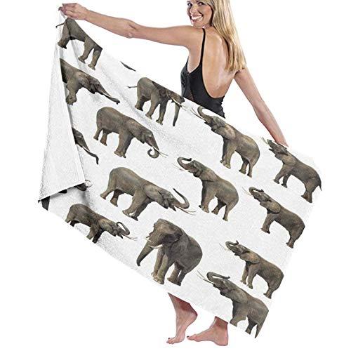 Grande Morbido Leggero Asciugamano da Bagno Coperta,Stampa dell'orecchio della zanna degli elefanti della foresta,Telo da Bagno Telo Mare per la Famiglia Hotel Viaggio Nuoto Gli Sport,52' x 32'