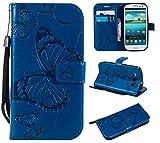 THRION Samsung Galaxy S3 Hülle, PU Schmetterling Brieftaschenetui mit magnetischer Handschlaufe und Ständerhalterung für Samsung Galaxy S3, Blau