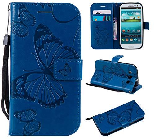 Samsung Galaxy S3 Hülle,THRION PU Schmetterling Brieftaschenetui mit magnetischer Handschlaufe und Ständerhalterung für Samsung Galaxy S3, Blau