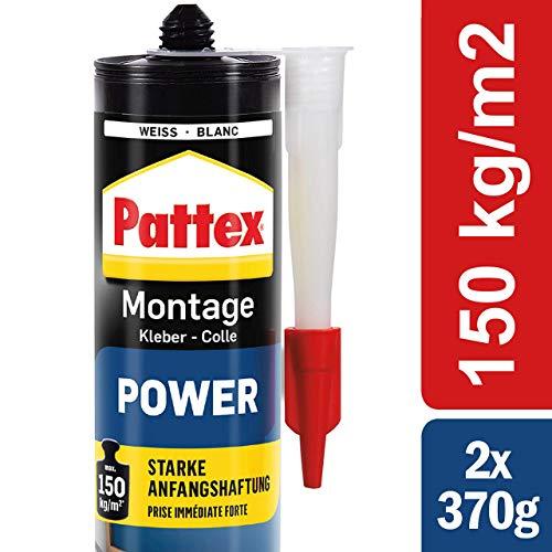 Pattex Montagekleber Power 740g, Baukleber mit starker Anfangshaftung, Kraftkleber für saugende Materialien, Kleber für innen & außen, Vorteilspack 2 Kartuschen mit je 370g, 9H PXP37X