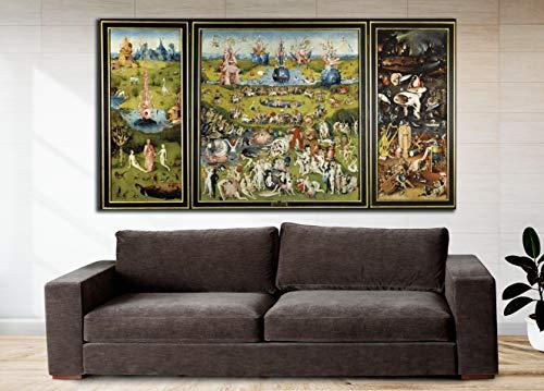 Cuadro Lienzo Jardín de Las Delicias de El Bosco - 80x42 cm - Lienzo de Tela Bastidor de Madera de 3 cm de Grosor - Varias Medidas - Impresión en Alta resolución y Calidad (80, 42)