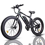 ECOTRIC Electric Bike Powerful 26' Fat Tire Wheel Mountain Bike EBike Moped Bicycle for Snow Beach Mountain Throttle & Pedal Assist 500W 36V/12AH Battery - 90% Pre-Assembled