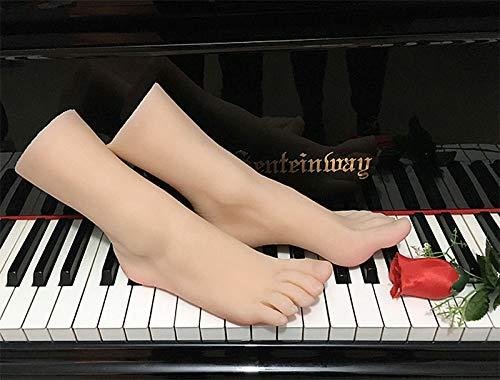 BEAUTTO Silikon Fuß, 1 Paar Realistische Silikon Weibliche Füße 36a Schönes Mädchen Fuß Modell für Schmuckschuhe Display Echte Berührung Ungiftige Latex-geruchslosigkeit Beauty Feet Gemacht Modell