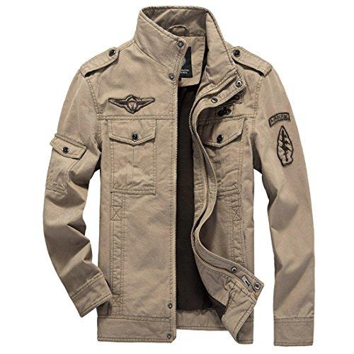 GWELL Herren Jacke Fliegerjacke Übergangsjacke Bomberjacke Militär Piloten Jacket für Winter Herbst Frühling S / Tag L Khaki