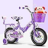 Wisess 2-6-9-12 Edad Bicicleta para Niñas, Bicicleta para Deportes Al Aire Libre con Osito Y Ruedas De Entrenamiento Extraíbles, Regalo para Niños, Púrpura,16inch