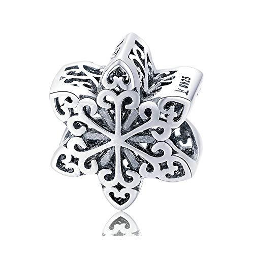ZiFouDou Ciondolo per Braccialetti Pandora&Chamilia e Collane,Bead Charm in Argento Sterling 925 -Fiocco di Neve