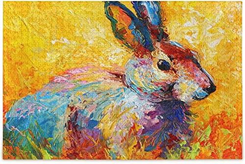 Aixmuy Puzzles Vintage Colorido Conejo Conejo Pintura Rompecabezas 1000 Piezas Rompecabezas para Adultos Niños DIY Familia