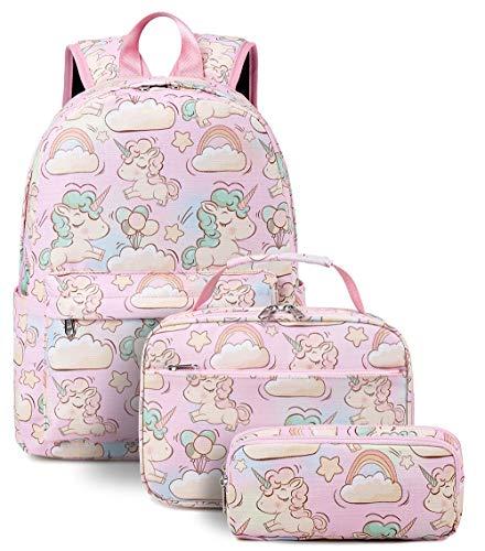 Kids Backpack Preschool Backpack Girls Kindergarten Kids Bookbag with Lunch Box Travel Rucksack Water Resistant (3Pcs pink)