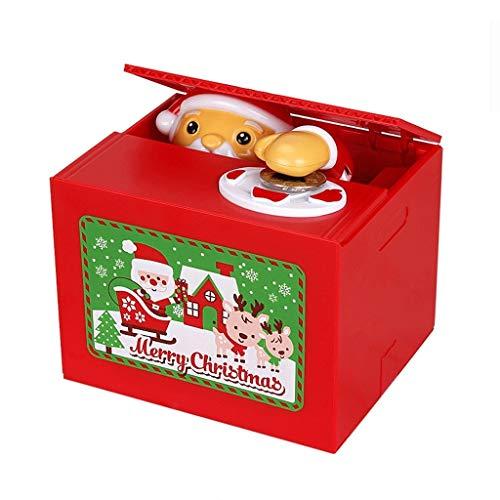 Liudan Hucha/Banco de Dinero Navidad con Monedas Hucha Musical Travesura de Santa Robo de Monedas Hucha automática Stealing Regalo Creativo Dinero Banco de Dinero