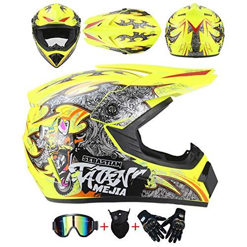 AKBOY Motocross Helmet Adultos Integral Amarillo Off-Road Motorcycle Helmet Kit Casco Moto...
