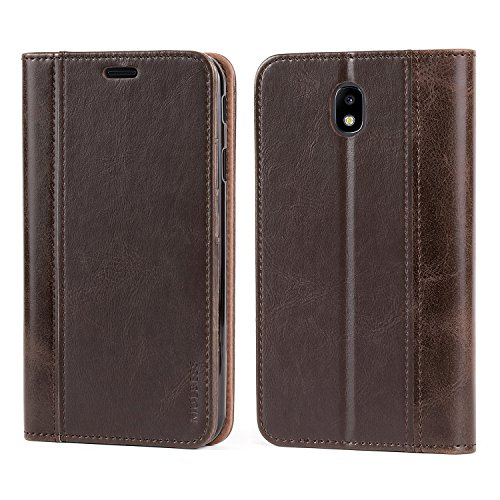Mulbess Leather Phone Case for Samsung Galaxy J7 2018 Case, Flip Wallet Cover for Samsung Galaxy J7 Refine/Star/V J7V 2nd Gen/Aura, Coffee Brown