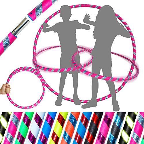 Pro KIDS HULA HOOP Reifen für Kleine Erwachsene und Kinder (10 Farben Ultra-Grip/Glitter Deco) Faltbarer TRAVEL Hula Hoop ideal für Reifentanz und Fitnesstraining! (Rosa / Silber Glitter)