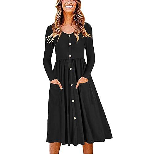 Popshion Women Casual Midi Dress Long Sleeve Dresses for Women Midi Skater  Dress 552ff75db