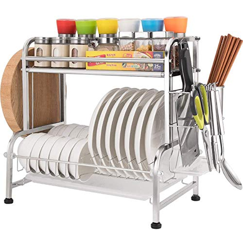 KFDQ 304 Stainless Steel Kitchen Rack/Spice Rack/Dish Rack/Drain Rack, 27Kg Load/Adjustable Foot Mat