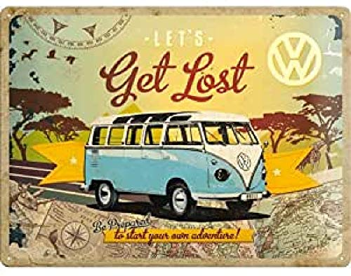 Nostalgic Art Retro Blechschild Volkswagen Bulli T1 – Let's Get Lost – VW Bus Geschenk-Idee, aus Metall, Vintage-Design zur Dekoration, 30 x 40 cm