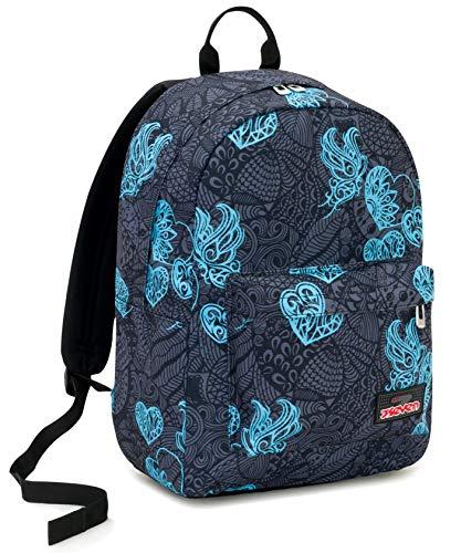 Ischoolpack Seven Colorflower, 27 Lt, Nero, Tasca Porta Laptop 15'', con Power Bank! Scuola & Tempo Libero, 44 cm