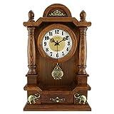 Reloj de Mesa silenciosa Reloj de Sala de Estar Reloj de Pared de Madera sólida Retro Estadounidense Reloj de Cuarzo Reloj de Pared -MAX Home (Color : Elephant Section-1)