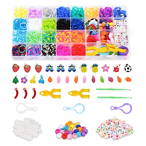 Kids Craft Kits for Girl Age 6 7 8 9 10,Jewelry Bracelets Making Kit Gift for 6-10 Year Old Girls Kid Bracelet Toy Rainbow Loom Band Birthday Gift Age 6 7 8 Girl Boy Rubber Bands Bracelets for Child