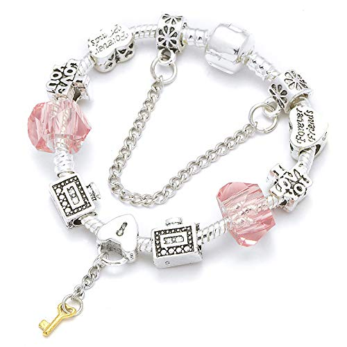 Pulseras europeas del encanto del color plata vintage con el colgante de la llave DIY pulseras para el regalo de las mujeres 16cm