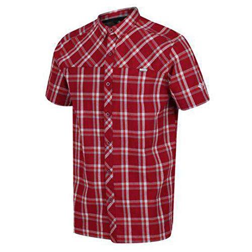 Regatta Chemise Stretch HONSHU V légère et Respirante avec aération au Dos et Poche Poitrine Shirts Homme, Delhi Red Check, FR (Taille Fabricant : XL)
