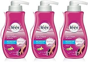 Hair Removal Cream – VEET Silk and Fresh Technology Legs & Body Gel Cream Hair Remover, Sensitive Formula with Aloe Vera and Vitamin E, 13.5 FL OZ Pump Bottle (Pack of 3)