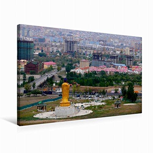 Premium Textil-Leinwand 75 x 50 cm Quer-Format Buddha-Statue in Ulan-Bator, Leinwanddruck von Lucy M. Laube