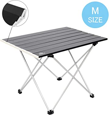 MSSOHKAN Ultralight Camping Portable Aluminum Folding Table,Mini Car Table with Collapsible Table Top,Camping Table with Carr