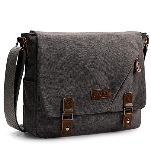 S-ZONE Men's Messenger Bags 15.6 Inch Laptop Crossbody Shoulder Vintage Canvas Briefcase Satchel for Work School Traveling Daily Use Multiple Pocket