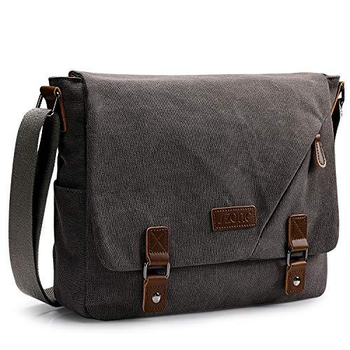 S-ZONE Men's Messenger Bags 15.6 Inch Laptop Crossbody Shoulder Vintage Canvas Briefcase Satchel for Work School Traveling Daily Use Multiple Pocket