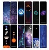 Creanoso Galaxy Bookmarks Series 3 (12-Pack) - Outer Space Design - Stocking Stuffers Premium Quality Gift Ideas for Children, Teens, Adults - Corporate Giveaways & Party Favors