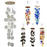 White Capiz Shell Wind Chimes Outdoor, Unique Memorial Handmade Chimes, Hanging Windchimes Unique Memory Gifts for mom, Best Friends, Grandma. Sea Shell Beach Decoration for Garden, Patio, Yard