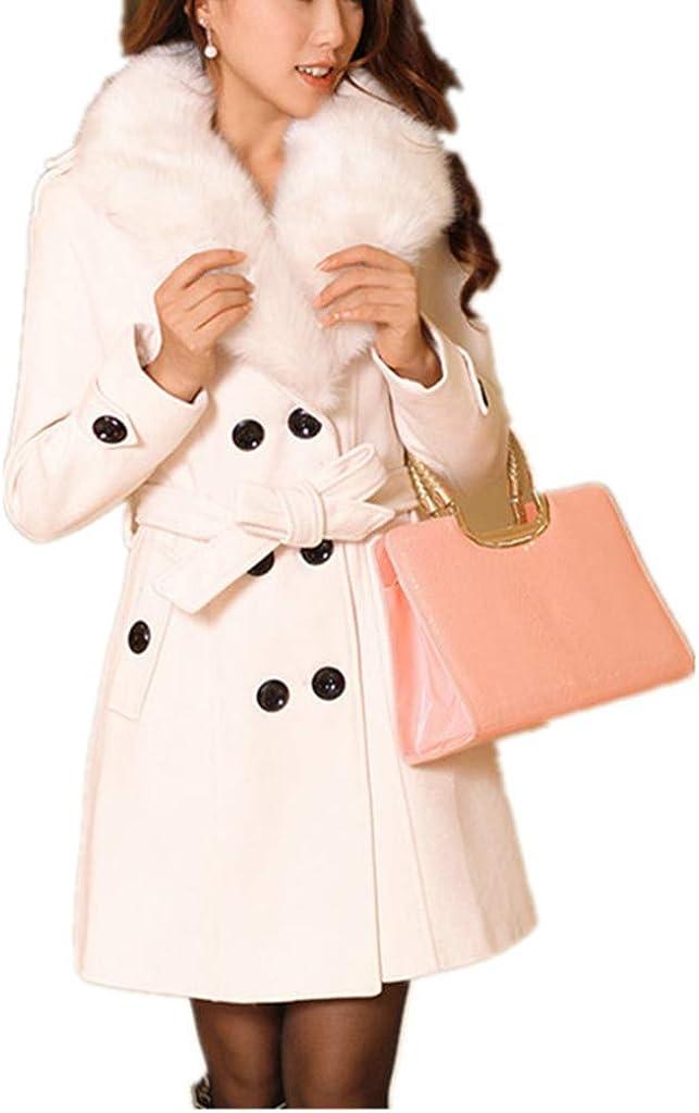 bbpawing Women Double-Breasted Slim Trench Coat Faux Fur Collar Mid Long Woolen Coat Windbreaker