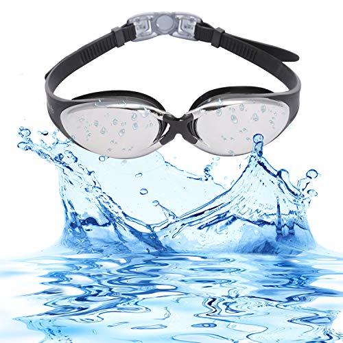 Bezzee-Pro Schwimmbrille - gespiegelte Gläser Schutzetui ?Wasserdicht - Anpassbar ? Schwimmbrille für Erwachsene Männer Frauen (Schwarz, Gespiegelte Gläser)