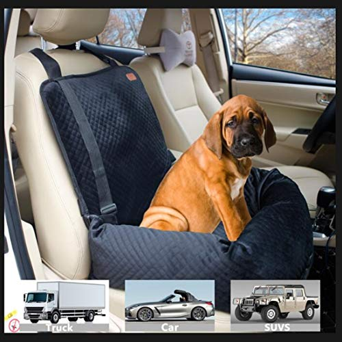 BOCHAO Dog car seat is Specially Designed for The Safety of Dogs Sitting in The car. The pet Booster seat Made of Short Plush Soft Material is and Safe, Detachable and Easy to Clean.