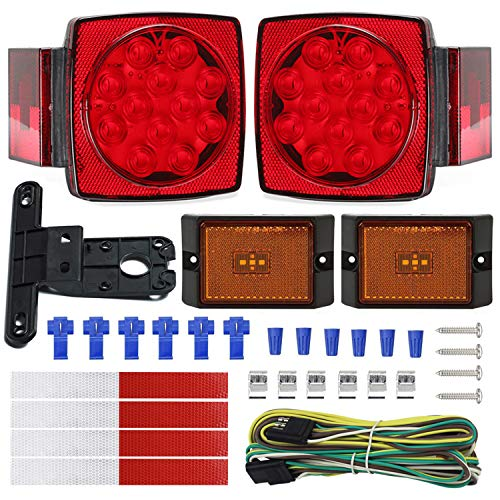 NISUNS Submersible Trailer Tail Lights Kit, Waterproof 12V LED Trailer Lights with Wiring Harness Combination Brake Stop Turn Running License Lights for RV, Marine, Boat, Trailer