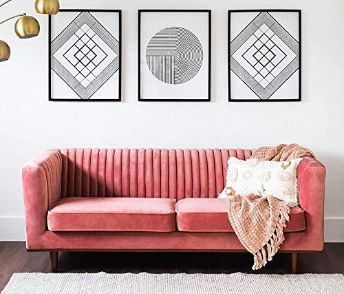 Edloe Finch Mid-Century Couch Channel Tufted, Blush Pink Velvet