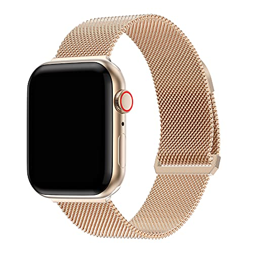 JIELIELE Compatible with Apple Watch Band 38mm 40mm 42mm 44mm, Rose Gold Magnetic Metal Stainless Steel Milanese Loop Mesh Strap for iWatch Band Series SE 6 5 4 3 2 1 for Women Men (Rose Gold 38/40)