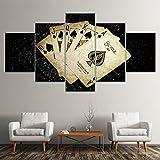Leinwand Malerei vergilbte Pokerkarten 5 Stück Wandkunst Malerei Modulare Tapeten Poster Print für Wohnzimmer Home Decor(size2)
