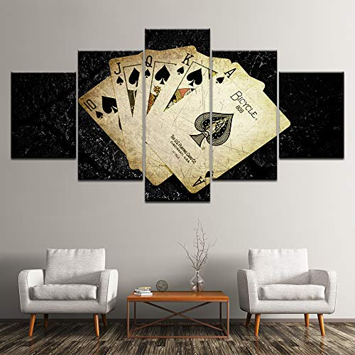 MMLZLZ 5 consecutive paintings Canvas Painting Yellowed Poker Cards 5 Pieces Wall Art Painting Modular Wallpapers Poster Print for living room Home Decor